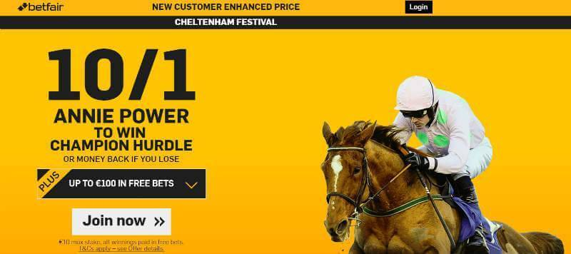 10/1 Annie Power to win with Betfair