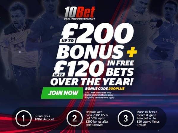 Up to £320 10Bet Free Bet
