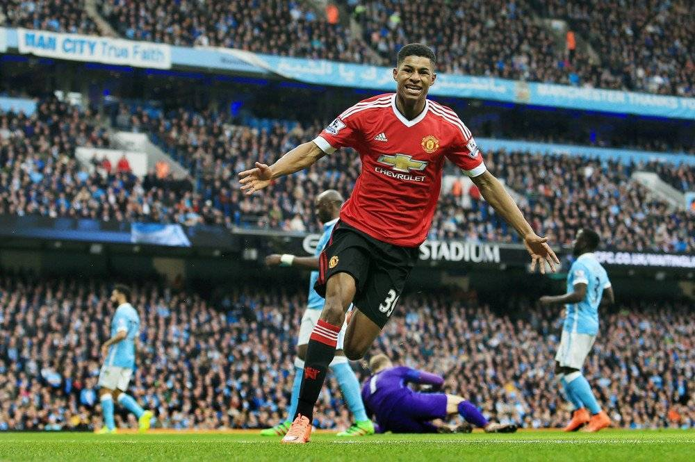Marcus Rashford of Manchester United celebrates scoring the opening goal during the Barclays Premier League match between Manchester City and Manchester United played at the Etihad Stadium, Manchester on March 20th 2016 / Barclays Premier League 2015/16 Manchester City v Manchester United Etihad Stadium, Ashton New Rd, Manchester, United Kingdom 20 March 2016 (Photo by BPI/Imago/Icon Sportswire) ****NO AGENTS----NORTH AND SOUTH AMERICA SALES ONLY----NO AGENTS----NORTH AND SOUTH AMERICA SALES ONLY****