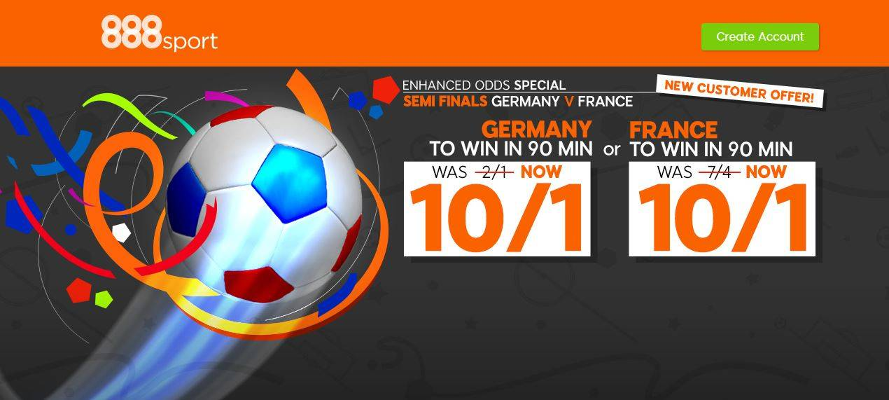 888Sport UEFA Euro 2016 Enhanced Odds