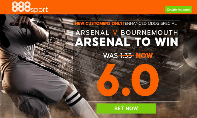 Arsenal to win 6.0 @888sport