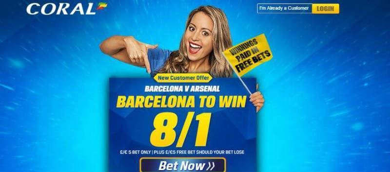 Coral has Barcelona beating Arsenal 8/1