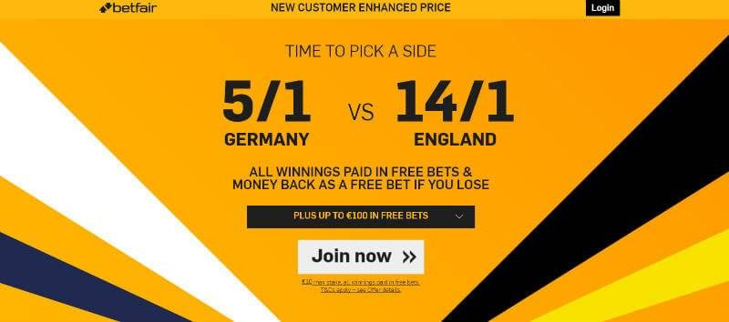 Enhanced Odds | 5/1 Germany v 14/1 England | Betfair