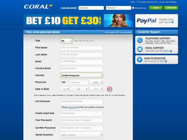 Free Bet Coral Sports