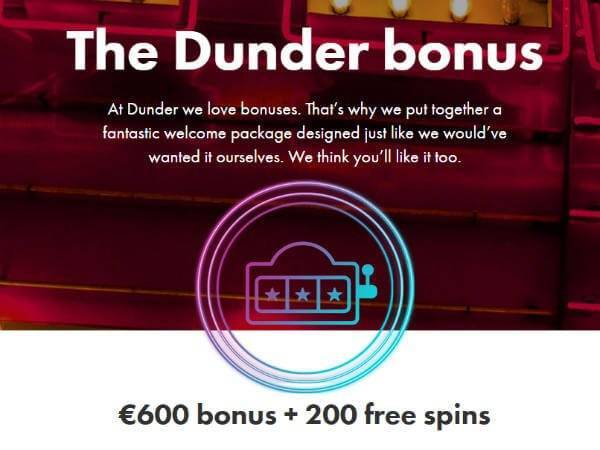 Bonus Offer Dunder Casino