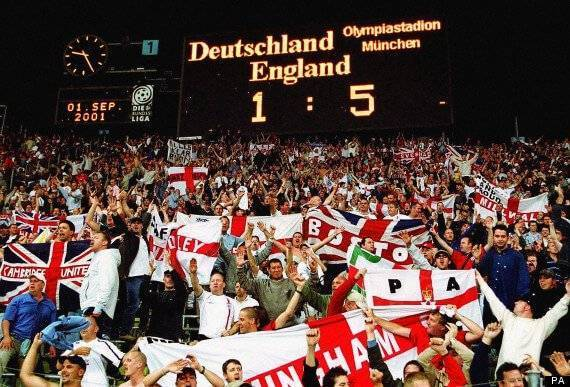 England fans celebrate their 5-1 win against against Germany