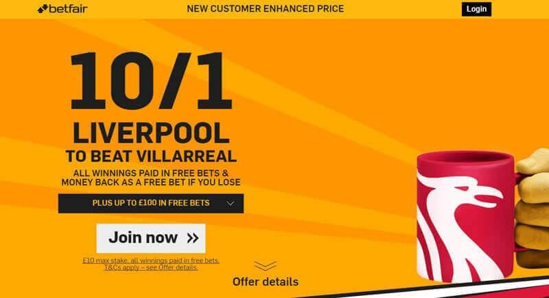 Liverpool Villarreal Betfair