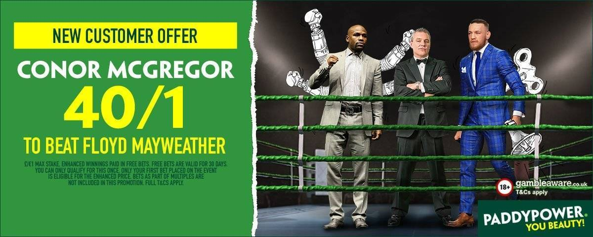 McGregor Mayweather Betting - 40/1 on McGregor