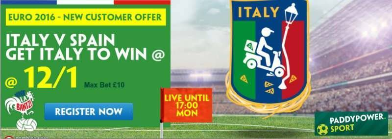 Italy v Spain Paddy Power Enhanced Odds