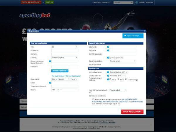 Sportingbet Free Bet Offer