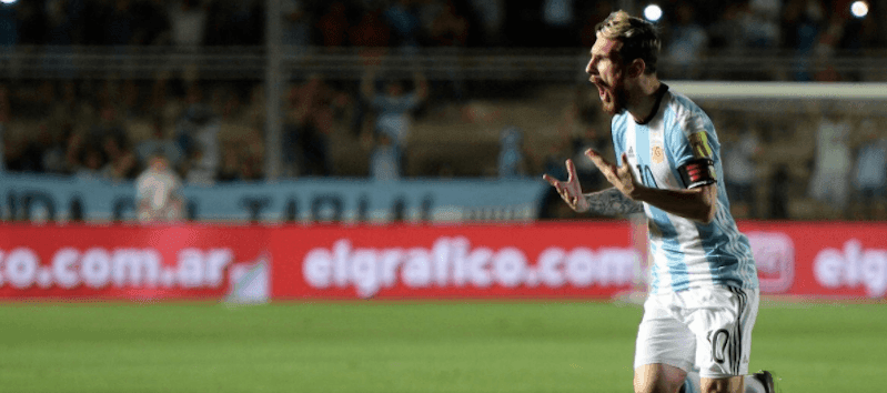 Lionel Messi celebrating his free-kick goal for Argentina against Colombia.