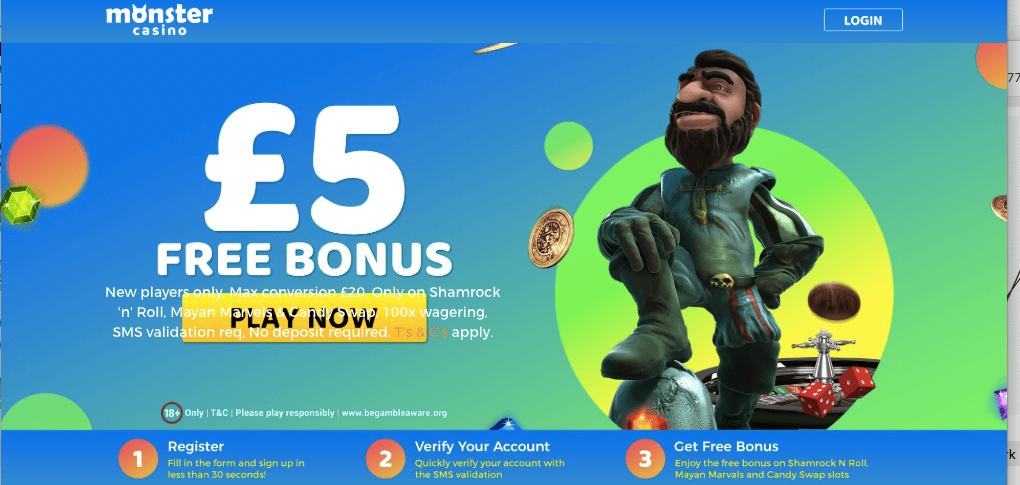 Get a £5 Free Bonus With NO DEPOSIT From Monster Casino!