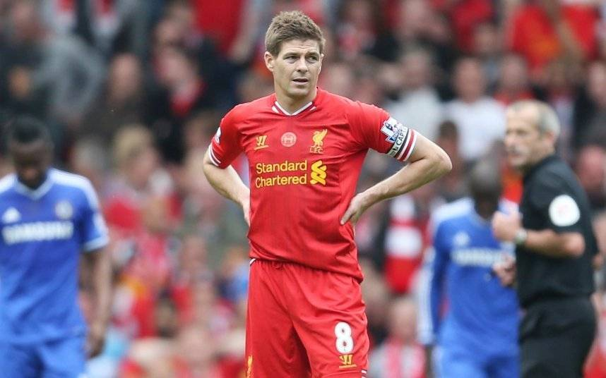 """Liverpool v Chelsea - Barclays Premier League...Football - Liverpool v Chelsea - Barclays Premier League - Anfield - 27/4/14 Liverpool's Steven Gerrard looks dejected after Demba Ba scores the first goal for Chelsea Mandatory Credit: Action Images / Carl Recine Livepic EDITORIAL USE ONLY. No use with unauthorized audio, video, data, fixture lists, club/league logos or """"live"""" services. Online in-match use limited to 45 images, no video emulation. No use in betting, games or single club/league/player publications. Please contact your account representative for further details."""