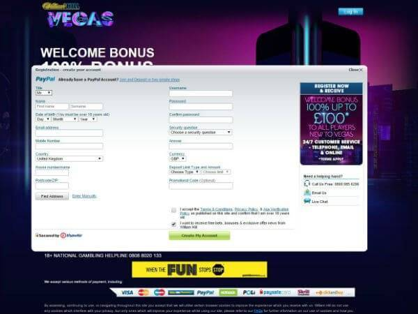 Register at William Hill Vegas