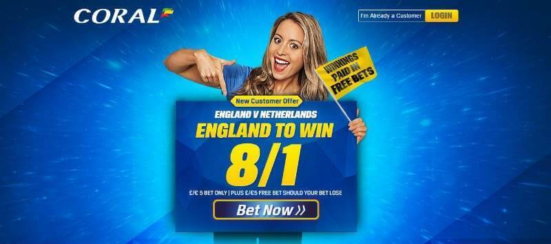 Enhanced Odds | 8/1 England to Win | Coral