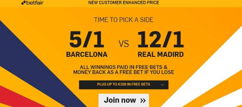 Betfair Enhanced Odds El Classico