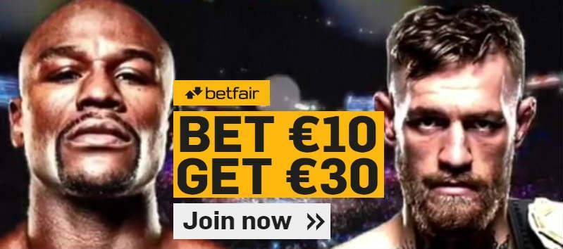 Back Mayweather or McGregor with a Betfair free bet