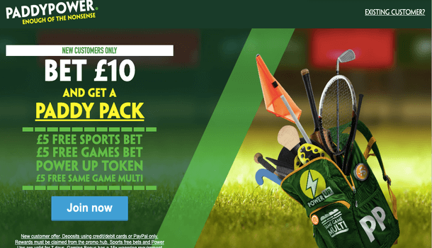 Bet £10 And Get A 'Paddy Pack' From Paddy Power
