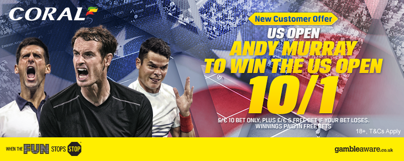 Get 10/1 Andy Murray to win the US Open at Coral